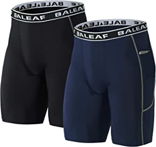 Baleaf Men's 9 Inches Compression Shorts Workout Sports Tights Side Pocketed Basketball Shorts 2 Pack