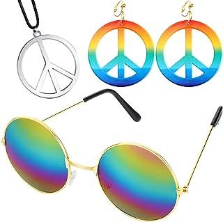 Ensemble d'Accessoire de Déguisement de Hippie des Années 60 70, Comprenant Boucles d'Oreilles et Colliers de Signe de Pai...