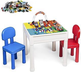 LADUO Table et Chaise Enfant, Multi-activités Table de Jeu et 2 Chaises pour Enfants, Table de Blocs de Construction, avec...