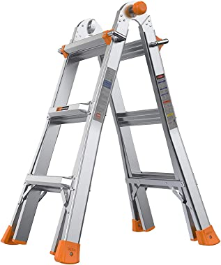 TACKLIFE Extension Ladder, 13-Foot Step Ladder with Safe Protective Switch, Non-Slip Rubber Feet, 300lb Capacity Multi Use La
