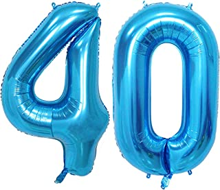 Number 40 blue foil 40inch jumbo digital balloons, 40th birthday decoration for men, big balloon party Supplies