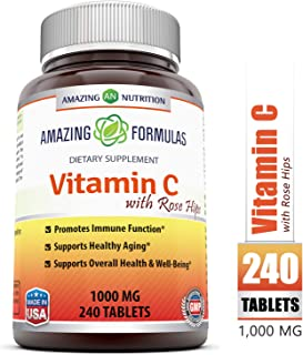 Amazing FormulasVitamin C with Rose Hips Dietary Supplement - Non-GMO 1000 Mg240Tablets