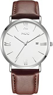 MDC Brown Leather Watch for Men, Mens Slim Minimalist Wrist Watches with Sport Leather Band, Ultra-Thin Business Casual Classic Dress Analog Watch - Imported Japanese Movement, 3ATM Water Resistant