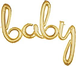 Amscan Gold Baby 3D Script Foil Balloon - 1pc, One Size (39 Inches)