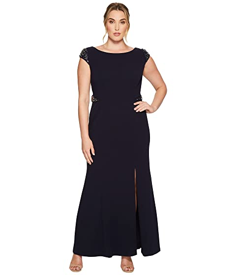 fccdde5714095 Adrianna Papell Plus Size Cap Sleeve Knit Mermaid Gown w  Beaded ...