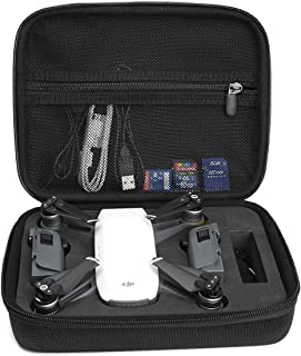 Compact Travel and Protection Case for DJI Spark Mini Quadcopter Drone, Slots for Extra Batteries and propellers, Mesh Pocket for USB Cable and Other Accessories (Black)