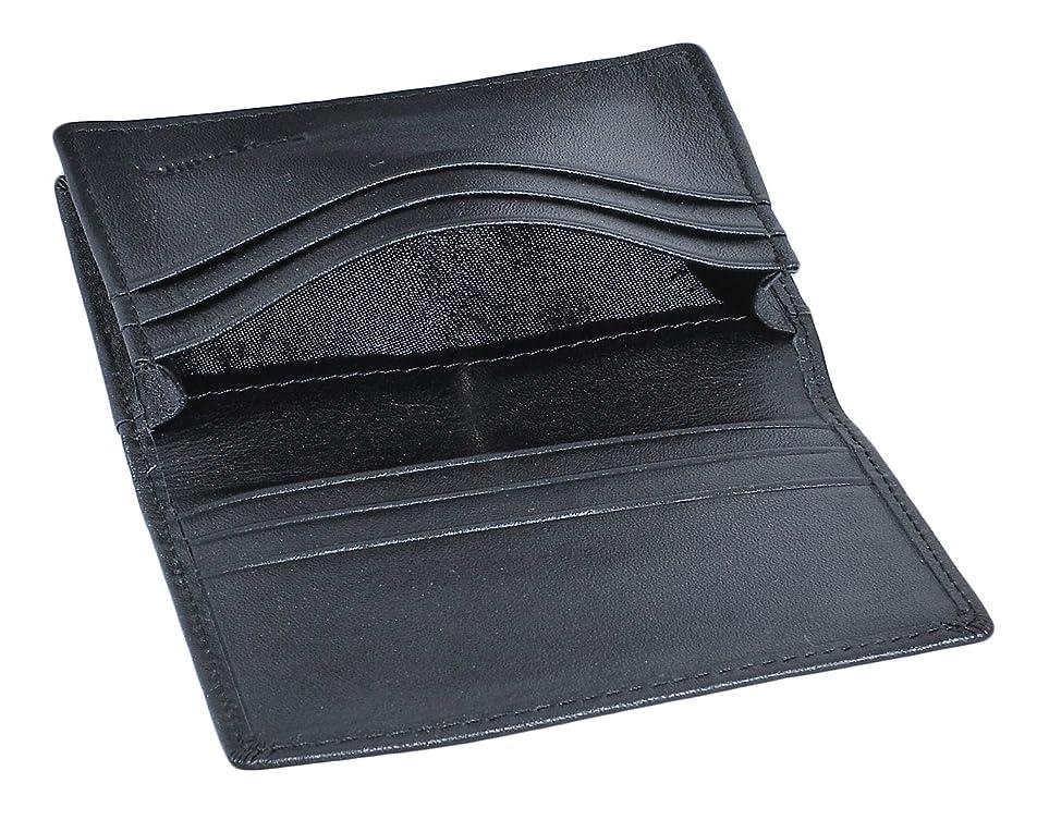 秘密のコック骨折名刺入れ 本革 名刺ケース カードケース メンズ 7ポケット 45枚収納 男女兼用【金属ボタン付】