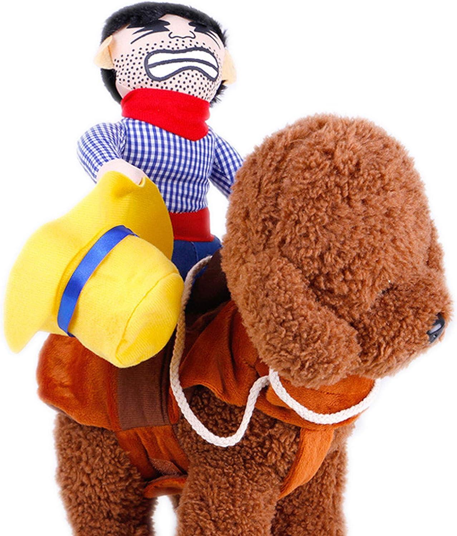 PINGHE Disfraces para Perros-Disfraces Lindos para Mascotas Traje de Halloween para Mascotas-Ropa para Perros Estilo Cowboy Rider de Dibujos Animados para Perros