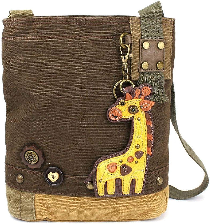 Chala Patch Crossbody Bag Canvas School Travel Dark Brown Giraffe, small