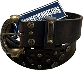 Womens True Religion Jeans Leather Belt Brown Studded Buddha Hardware Logo Horseshoe Buckle