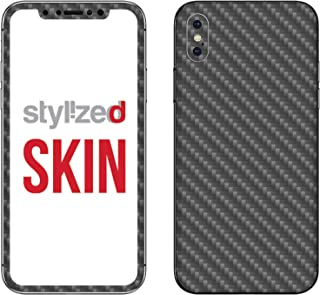 Stylizedd Premium Vinyl Skin Decal Body Wrap for Apple iPhone X - Carbon Fibre Anthracite