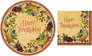 Disposable Fall Paper Plates and Luncheon Napkins, Set of 16-10 1/2 Inch Plates and 32 Napkins (Thanksgiving)