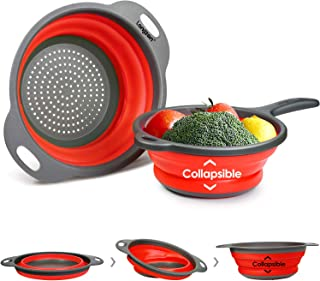 Longzon 2 Collapsible Colander Strainer Set, Over the Sink Vegetable/Fruit Silicone Colanders Strainers with Extendable Handles 2 Quart and 9.5
