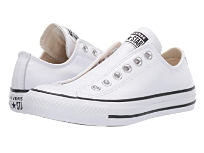 Converse Chuck Taylor All Star Slip Basic Leather Slip (White/White/Black) Shoes