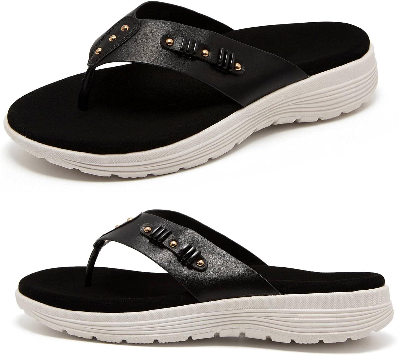LRECHEU Orthopedic Sandals for Women, Arch Support Flip Flops wi