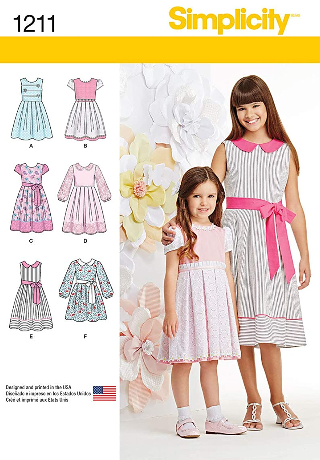Simplicity 1211 Girl's Dress Sewing Patterns, Sizes KS (7-14)