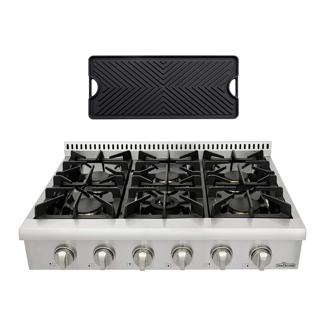 Thor Kitchen HRT3618U 36'' Gas Cooktop with 6 Sealed Burners in Stainless Steel, Flat Cast-iron Grates, Cast-Iron Reversible Griddle