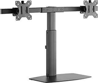 Rife Dual Monitor Desk Stand Adjustable Tilt Free-Standing Mount fits 1 Screen up to 27 (Pneumatic Dual Monitor)