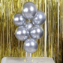 Gotian 50Pcs Chrome Shiny Metallic Latex Balloons for Birthday Wedding Grad Party ~ Perfect for Birthday Party Bridal Baby Shower Engagement Wedding Party Decor (Chrome Silver)