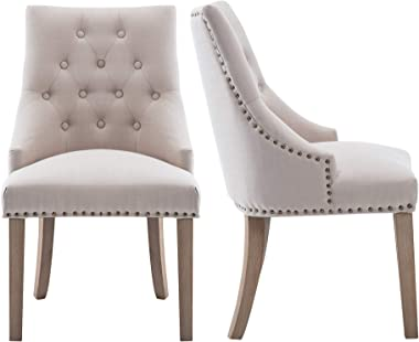 NOBPEINT Dining Chair Beige Fabric Leisure Padded Ring Chair, Nailed Trim, Set of 2