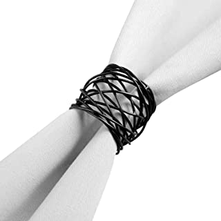 ITOS365 Handmade Round Mesh Black Napkin Rings Holder for Dinning Table Parties Everyday, Set of 6