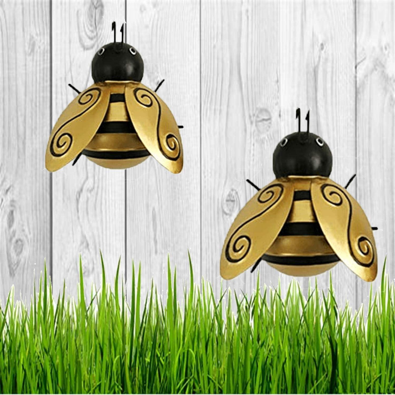 Metal Bumble Bee Decorations, 3D Iron Art Sculpture Ornaments,Nostalgia Decorative , Garden Accents - Lawn Ornaments (2PCS)