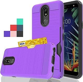 Wtiaw:LG K40 Case,LG K12 Plu/LG X4 2019/LG LMX420/Solo LTE Case(L423DL)/Solo/K12+/Harmony 3/Xpression Plus 2/Harmony 3 Case,[1 Card Slots Holder] Hybrid Dual Layer Defender Case for LG K40-CK Purple