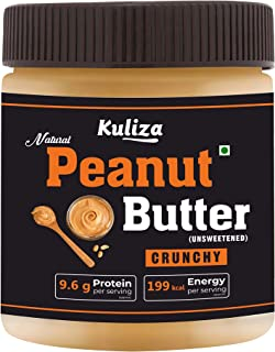 Kuliza Natural Peanut Butter ( Unsweetened, High Protein, No Added Sugar, Vegan) - (Crunchy, 340 Gm)