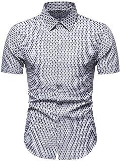 Abeaicoc Men Button Shirt Sleeve Half Down Casual Floral Print Slim Fit Dress Shirts