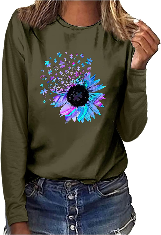 Womens T Shirts Loose Fit Women's Casual Printing Crewneck Long Sleeve Tops T-Shirt