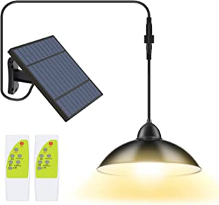 2 Pack Solar Lights Outdoor, Cord LED Solar Shed Lights 32.8FT, Remote Control Pendant Lamp with Adjustable Solar Panel, I...