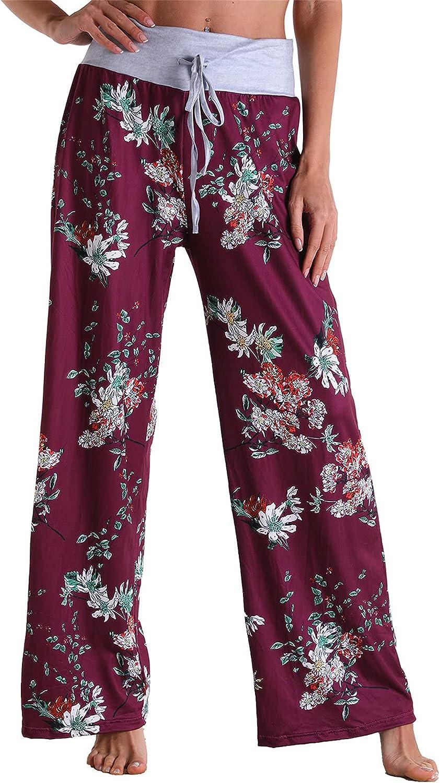 USYFAKGH Womens Cotton Linen Pants, Elastic Waist Wide Leg Printed Yoga Pants
