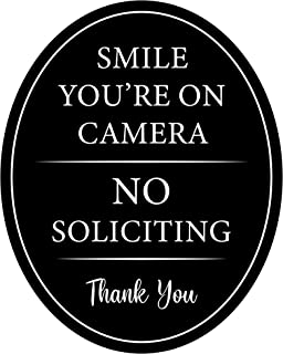 """Best 4"""" x 5"""" Aluminum Oval Classy Sign: Full adhesive sticker back Outdoor or indoor use - Front door, window, house / home business / office - Smile You"""