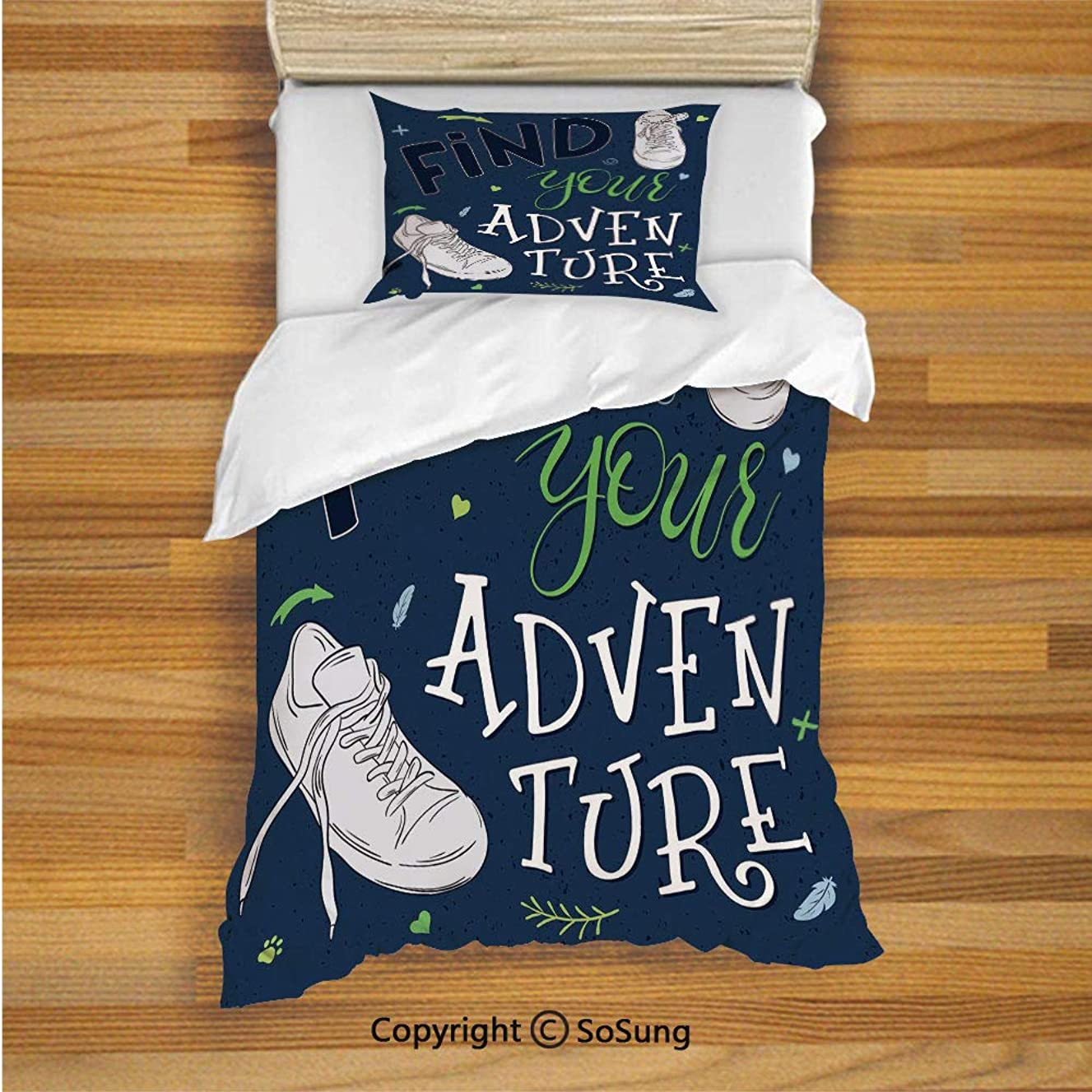 SoSung Adventure Kids Duvet Cover Set Twin Size, Youthful Design Find Your Adventure Quote Forest Elements and Sneakers Decorative 2 Piece Bedding Set with 1 Pillow Sham,Dark Blue Black Green
