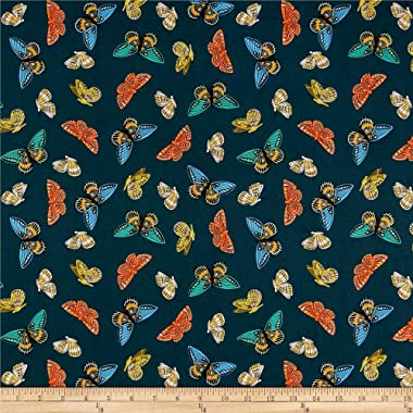 Cotton + Steel Rifle Paper Co. English Garden Lawn Monarch Metallic Fabric, Navy, Fabric By The Yard