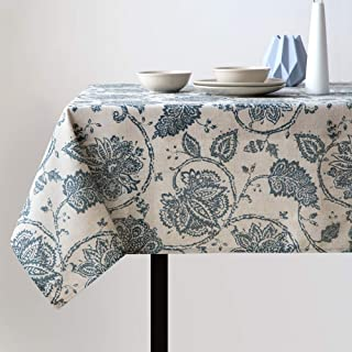 jinchan Linen Textured Tablecloth for Kitchen Jacobean Floral Printed Tablecloth Linen Textured Table Cover (1 Panel 51