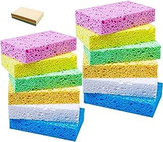 12個セット(6色) キッチンスポンジ 吸水スポンジ キッチン スポンジ セルロース 圧縮 人気のセルローススポンジ 食器洗い神器 台所用 テーブル/お風呂の掃除用 吸水 清潔 衛生 11.5×7×2cm(水につけた後)