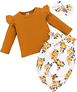 SANMIO Cute Floral Girl Clothes Outfits, Toddler Baby Girl Clothes Set Ruffle T-Shirt + Pant Set with Headband