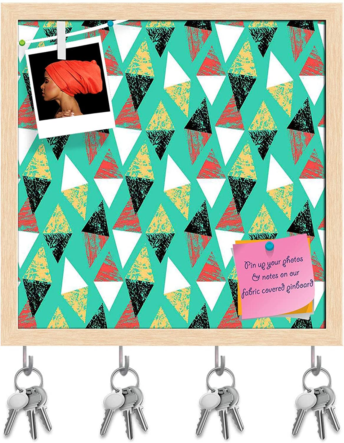 Artzfolio Grunged Triangles Key Holder Hooks   Notice Pin Board   Natural Brown Frame 20 X 20Inch