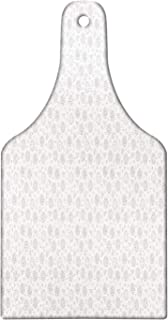 Ambesonne Italy Cutting Board, Hand Drawn Like Monochrome Simplistic Mixed Style Pizzas and Ingredients, Decorative Tempered Glass Cutting and Serving Board, Wine Bottle Shape, White and Charcoal Grey