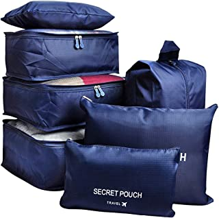7Pcs Travel Storage Bags Clothes Packing Cube Luggage Organizer with Shoes Bag (Navy)