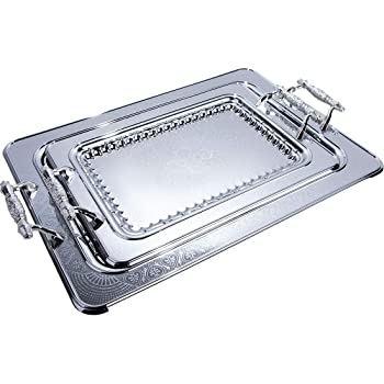 2 Teiliges Serviertablett Metalltablett mit Griff Tabletts