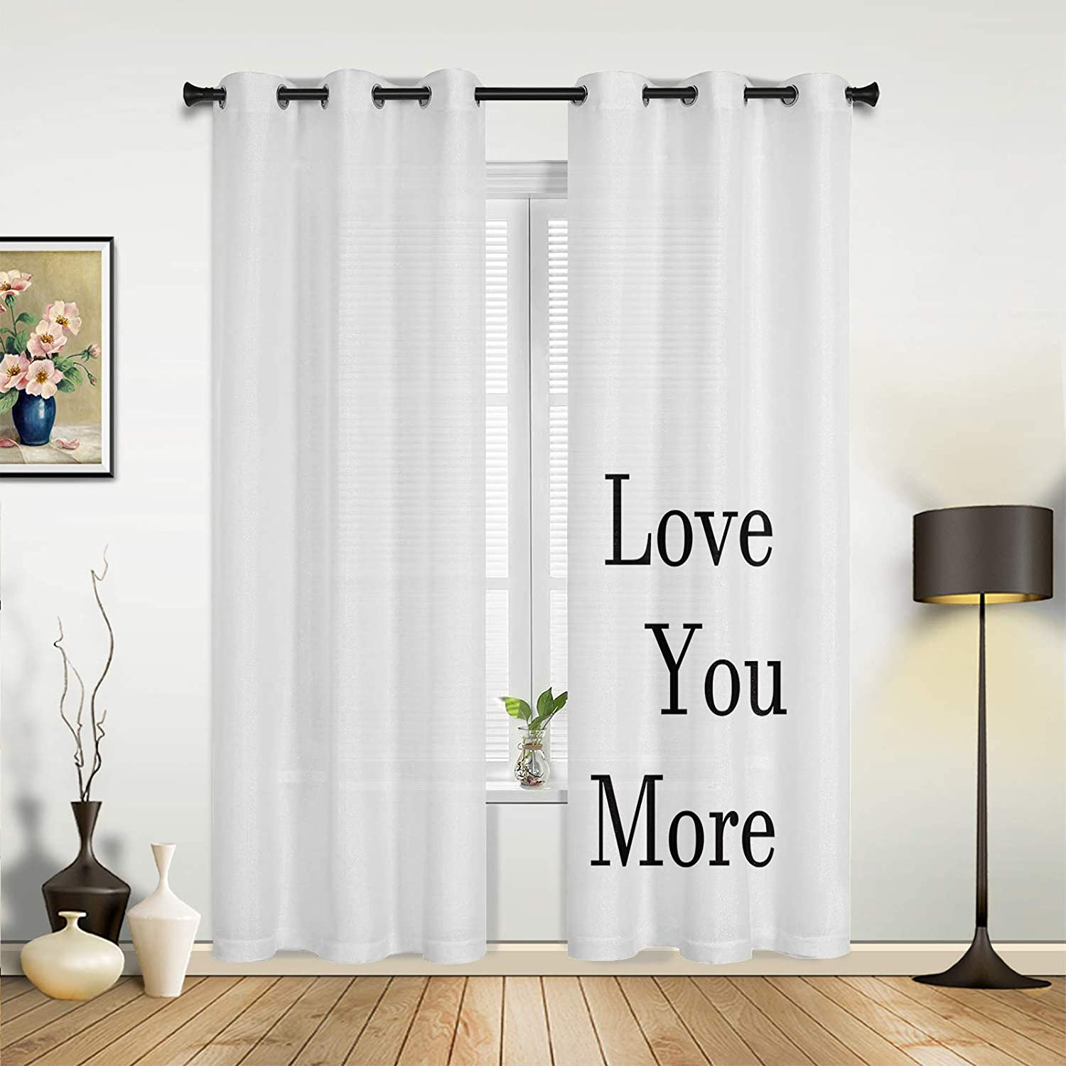 High order Beauty unisex Decor Window Sheer Curtains Room Love Living for Bedroom