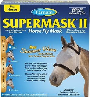 Farnam Supermask II Shimmer Weave Horse Fly Mask Horse Size Silver Mesh with Black Trim
