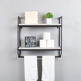 バスルームシェルフ 壁取り付け 2層バスルームシェルフ タオルバー付き キッチン収納棚 メタル&木製フローティングシェルフ 素朴な工業バスルームシェルフ ヴィンテージホワイト