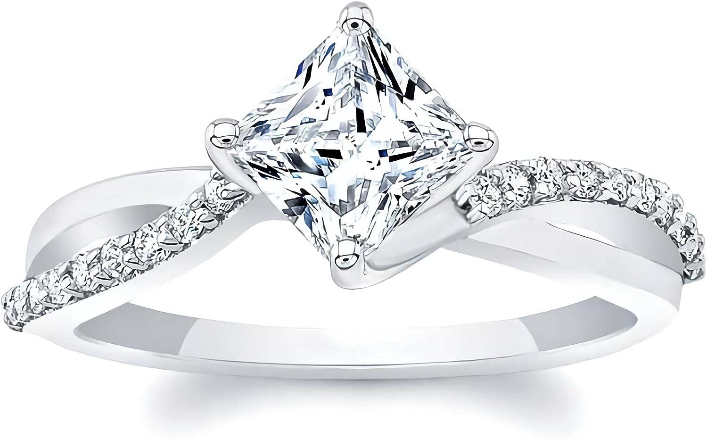 1.15 Carat (ctw) moissanite engagement rings for women 10K 14K 18K white gold ring moissanite rings