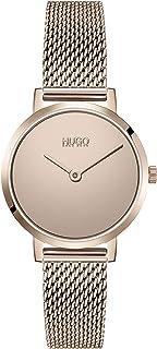 HUGO by Hugo Boss Women's #CHERISH Quartz Watch with Stainless Steel Strap, carnation, 12 (Model: 1540085)