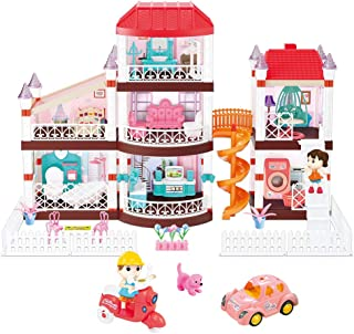 Heruo Doll House Dream House 3 Floor, Large Three-Story Dollhouse with 7 Rooms and Furniture, 160 Accessories Dreamhouse w...