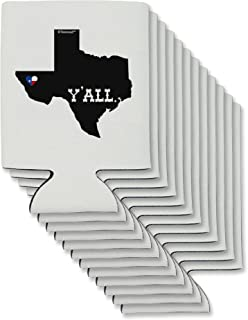 TooLoud Texas State Y'all Design with Flag Heart Can/Bottle Insulator Coolers - 12 Pieces