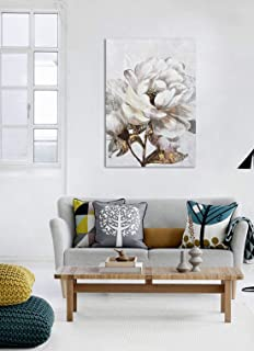 Framed Canvas Prints Wall Art for Home Decoration, Brown Color Flower Branches Oil Paintings, 3D Hand Painted Modern Floral Pictures for Living Room, Bedroom, Stretched and Framed Ready to Hang 24x36